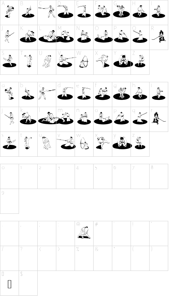 MartialOne font character map