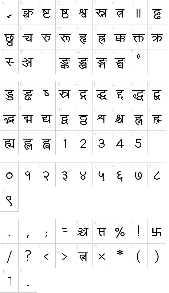 Amarujala font character map