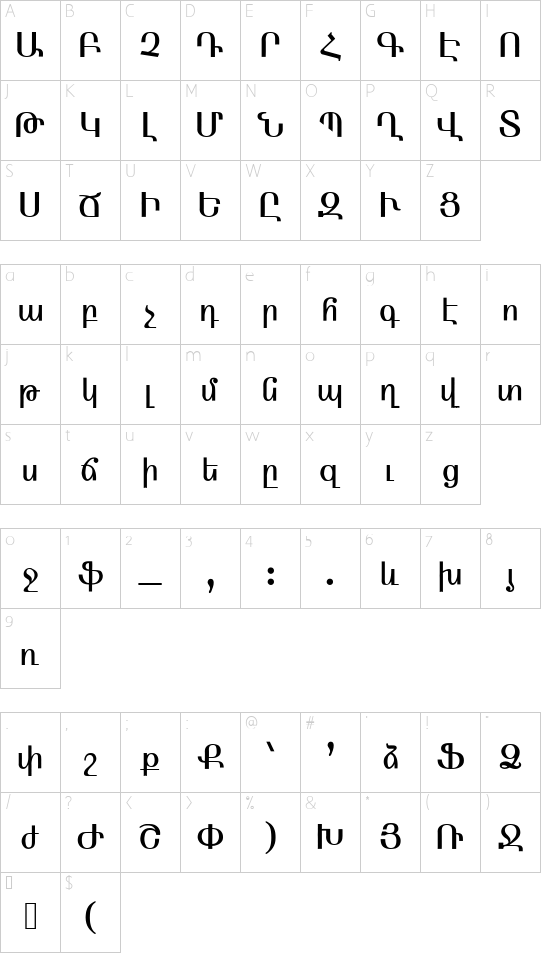 ARMEN_ TT Normal font character map