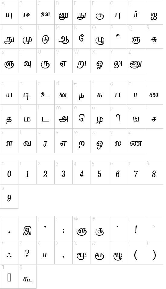 Boopalam Regular font character map
