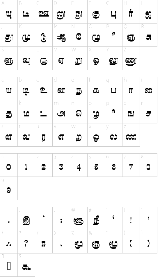 Madhuvanthi Regular font character map
