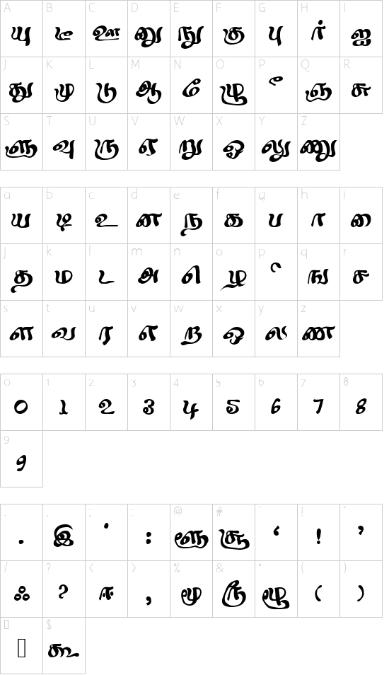 Sindhubairavi Regular font character map