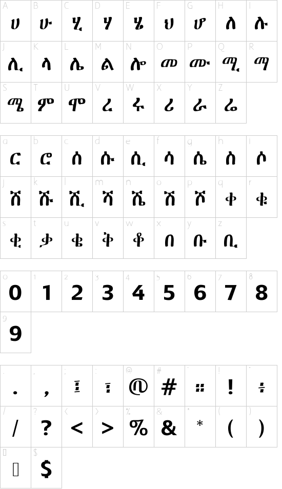 GF Zemen Primary font character map