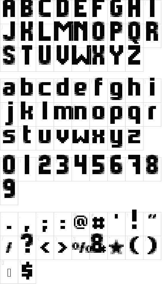 pebe_pixelblack font character map