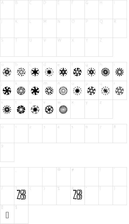 Zone23_23gyros font character map
