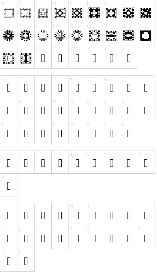 HDGEMS9 font character map