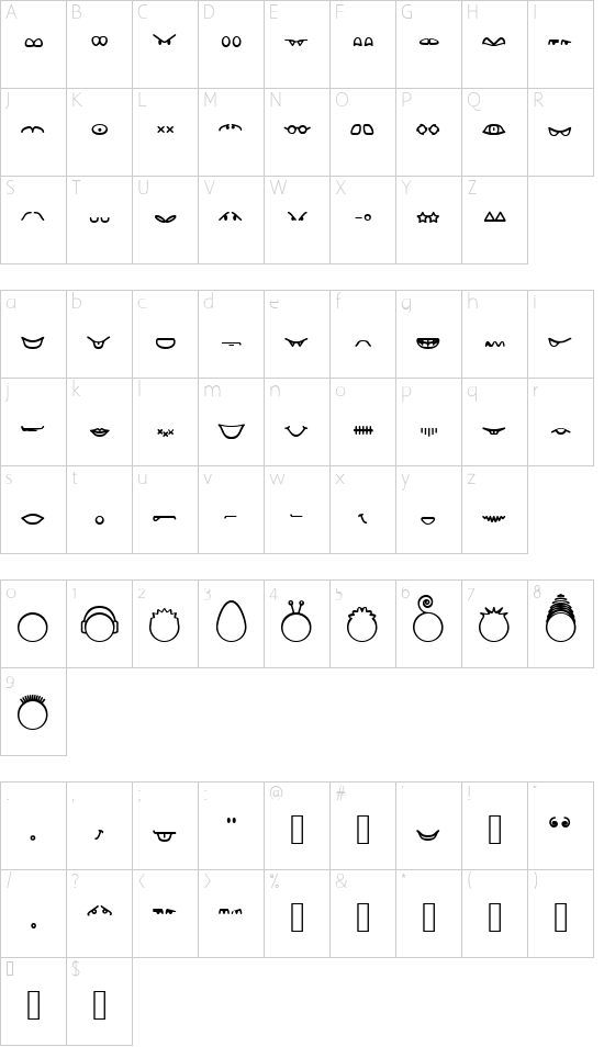 Head-Ding Maker (BRK) font character map