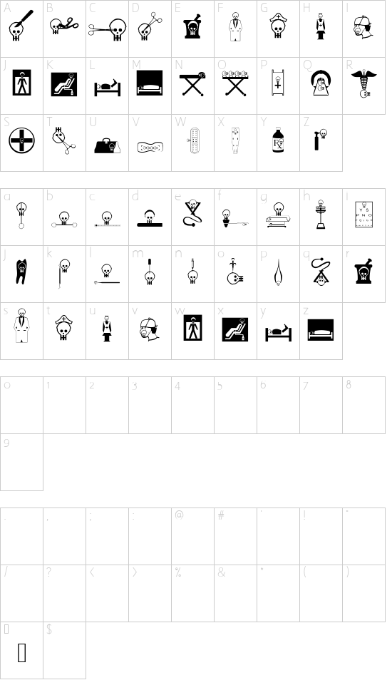 HelloViennaMacabre font character map