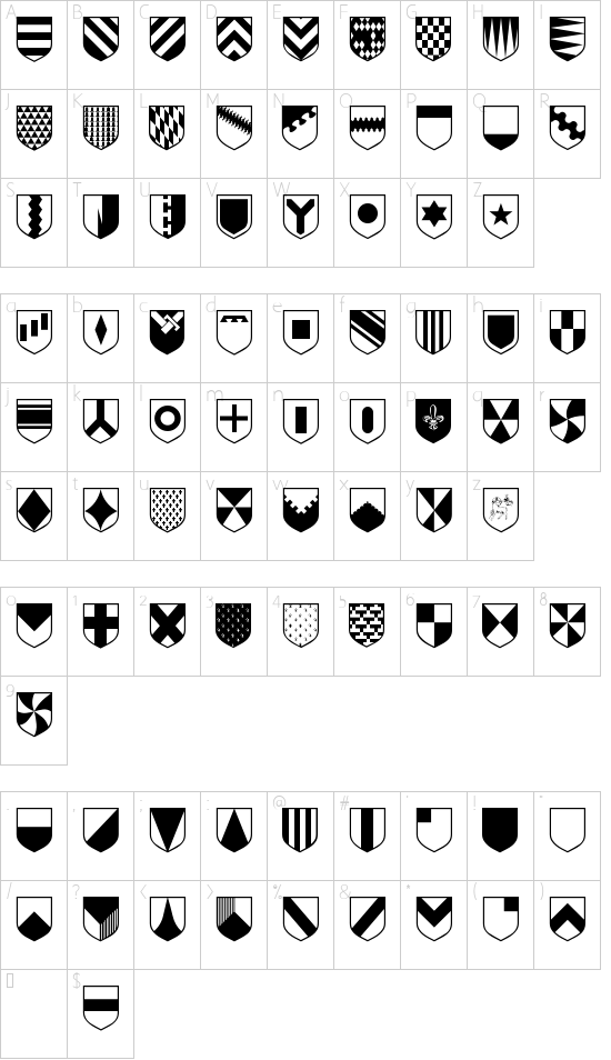 Heraldic font character map