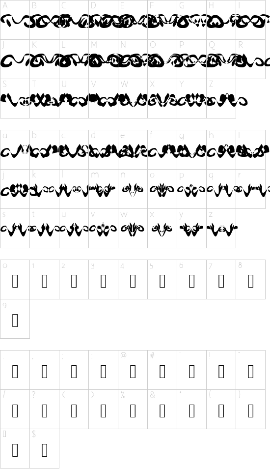 Hidden Ghosts font character map