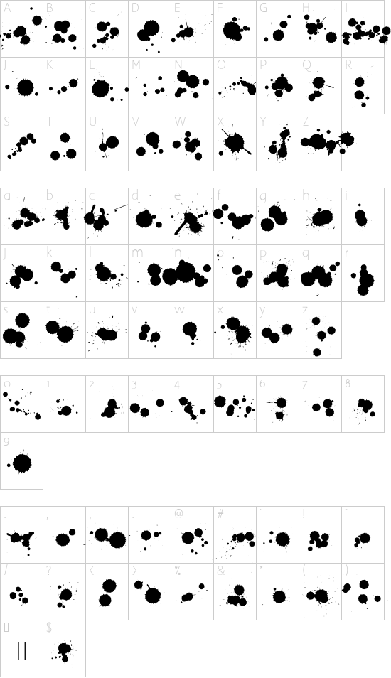 WCRhesusBBta font character map