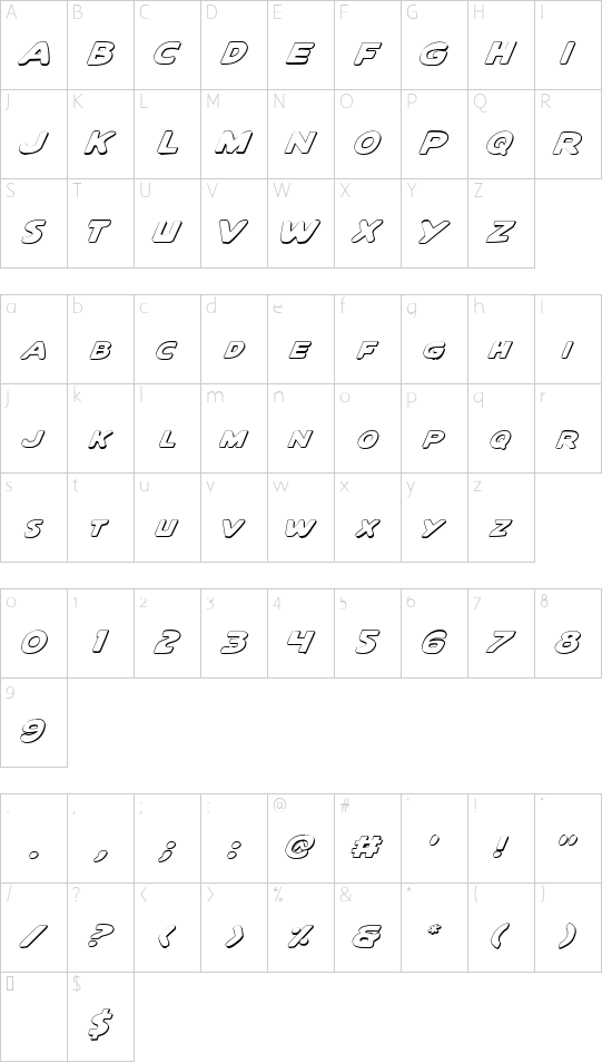 Quartermain Outline Italic font character map