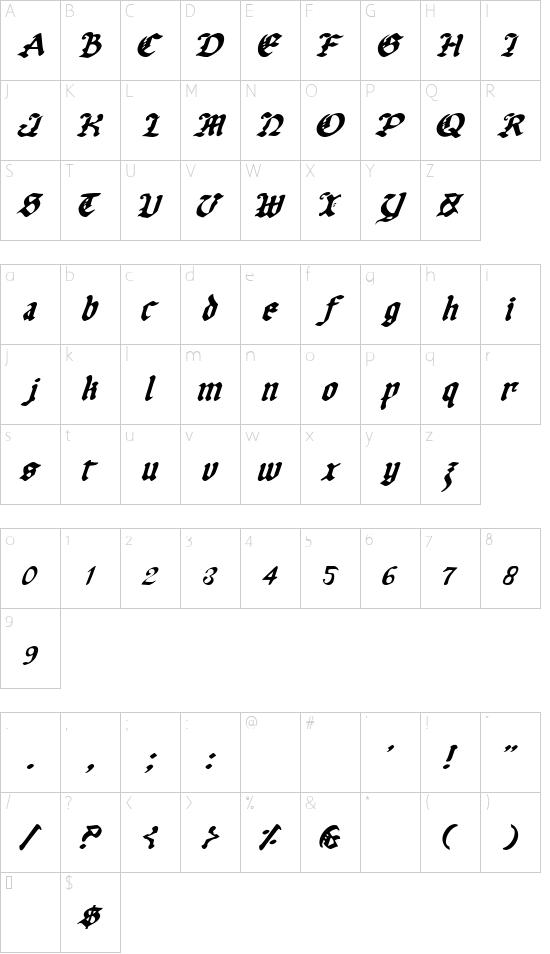 Uberhölme Italic font character map