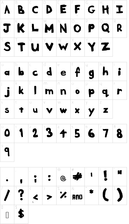 Meltdown Un-Radiated font character map