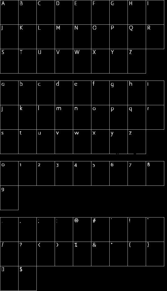Pea Bhea Script font character map
