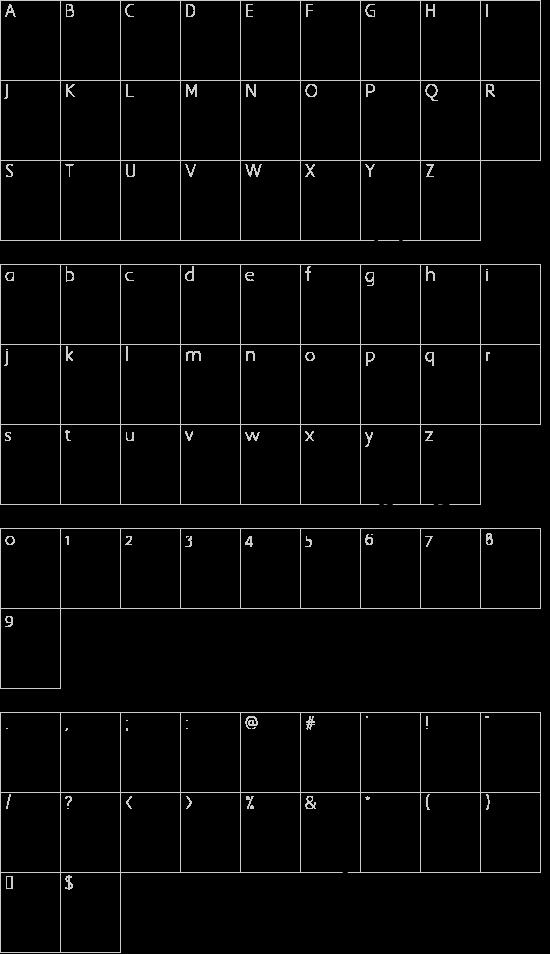 Pea Roni Script font character map