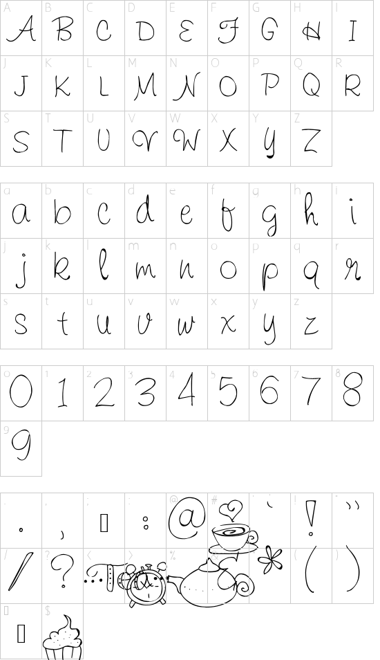 Pea Sandra Dee font character map