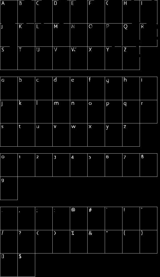 PUCKO.... Regular font character map