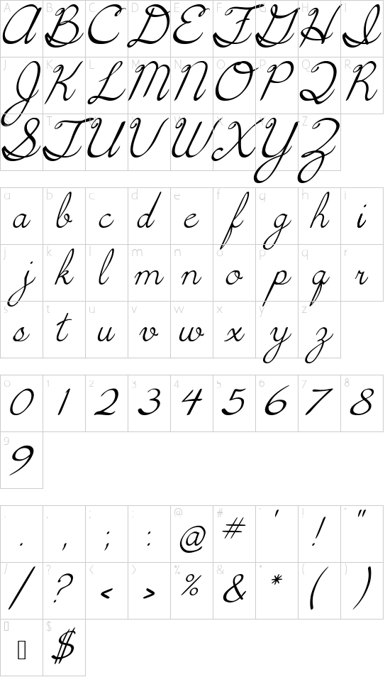 5th Grade Cursive-italics font character map