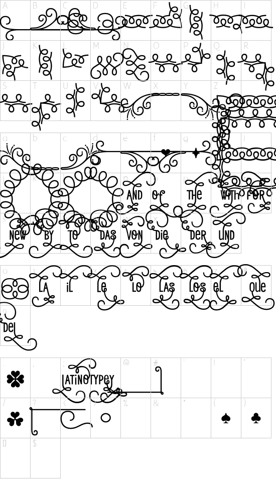 Romeo Ornaments font character map