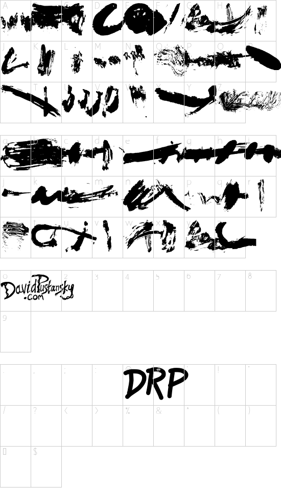 Brush Stroke Of Genius font character map