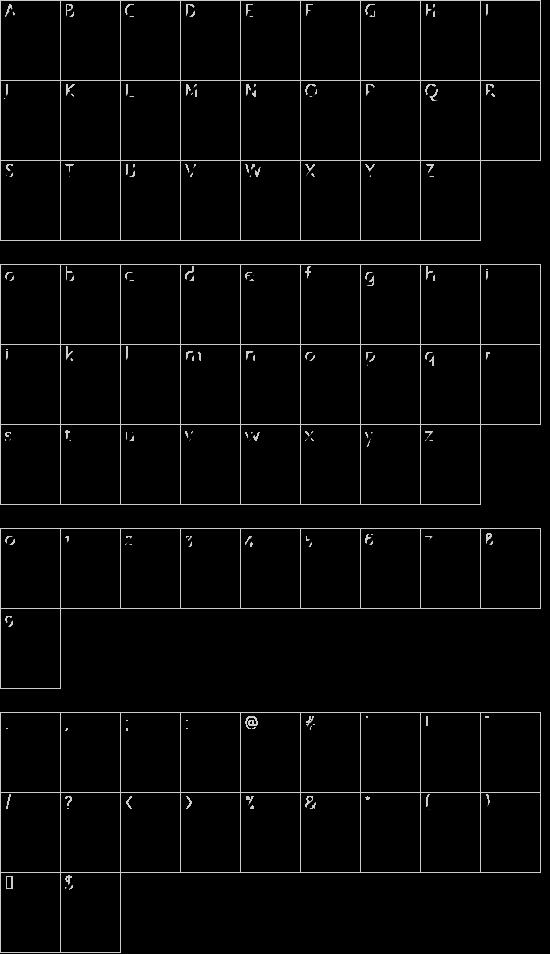 Rostros y emociones font character map