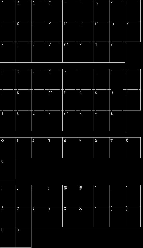 Alien faces St font character map