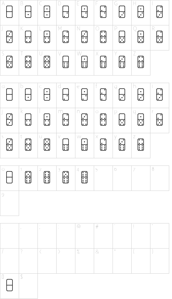 Dominos St font character map