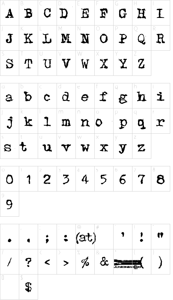 Typpea font character map