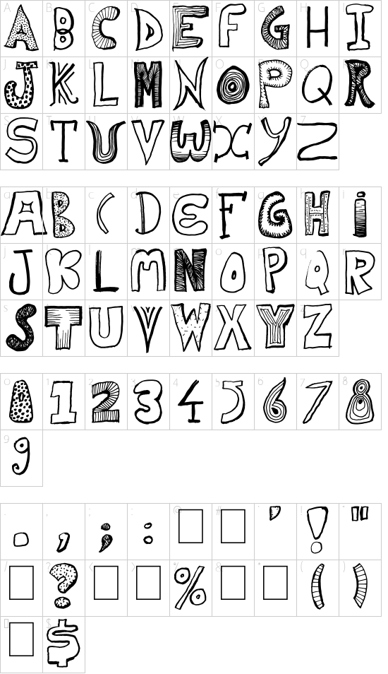 Home Mad Popsters font character map