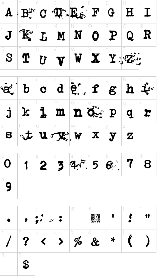 Typistys DIRT font character map
