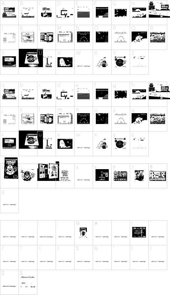 Super Mario Lost! font character map