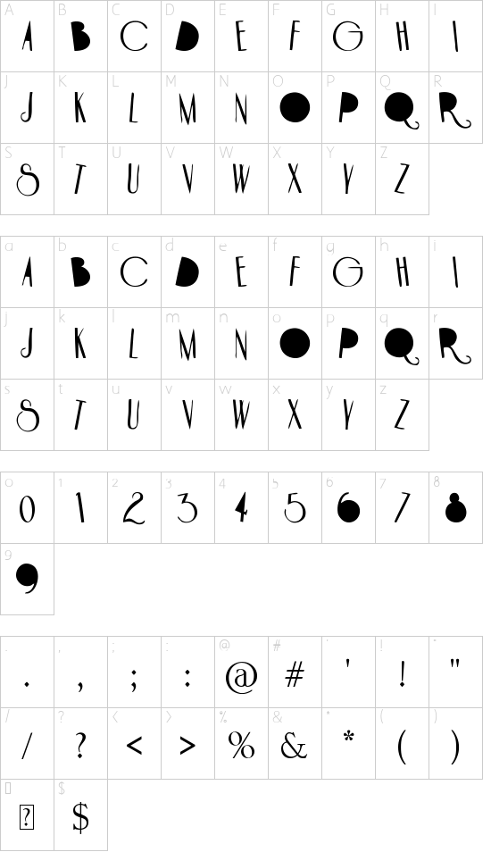 HOTEL PARADISO font character map