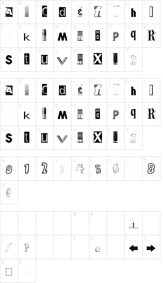 Windows Broken font character map