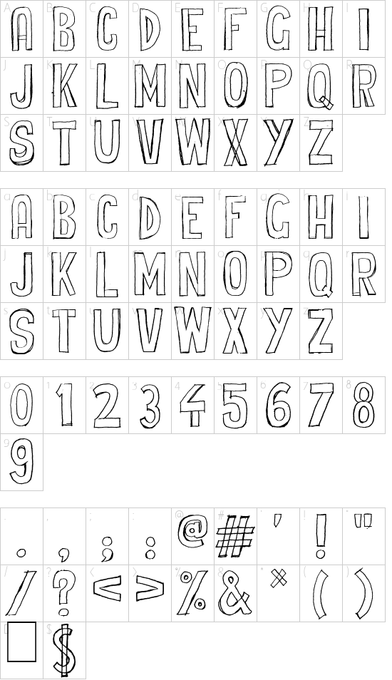 Cheap Potatoes font character map