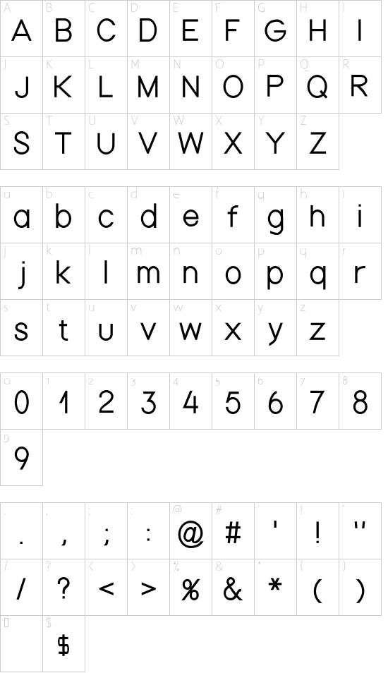 NordicaThin font character map