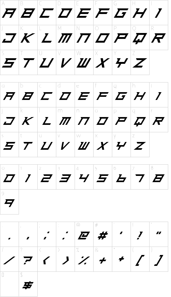 Ninja Rush font character map