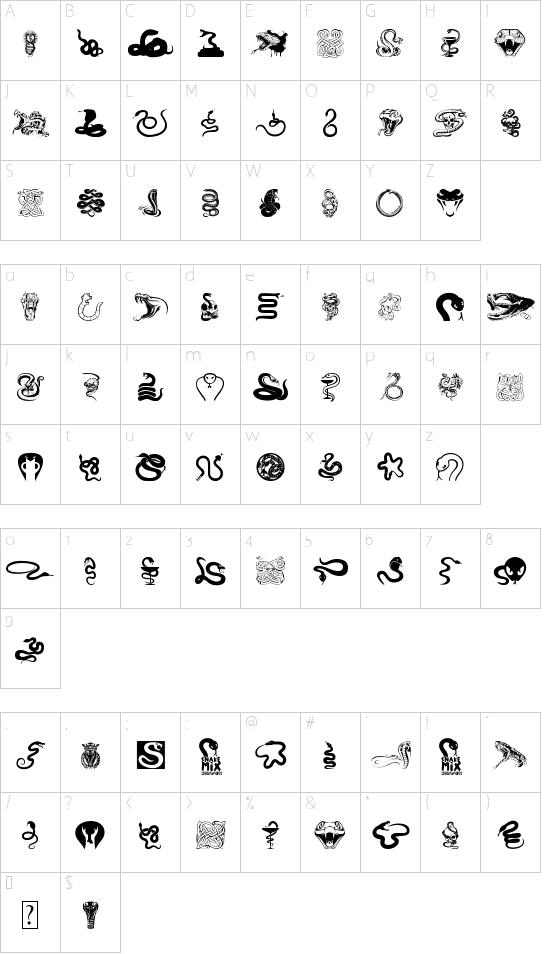 Snake Mix font character map