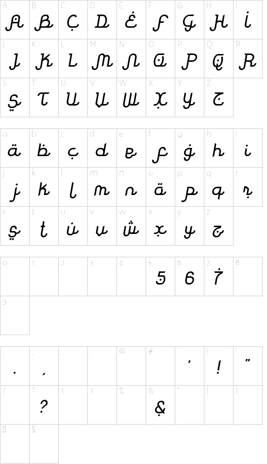 Rodja Slanted font character map