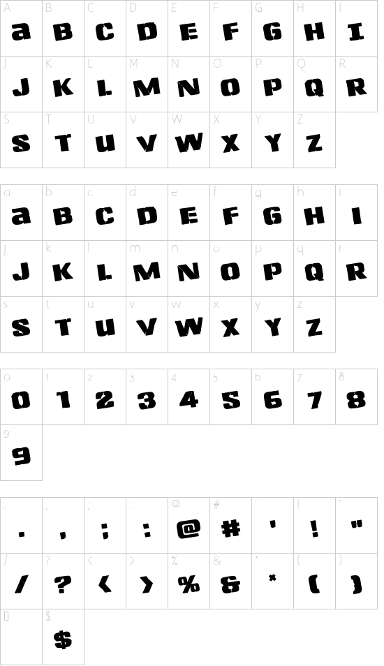 Left Hand Luke Rotated font character map