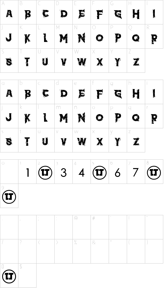 the dark font character map