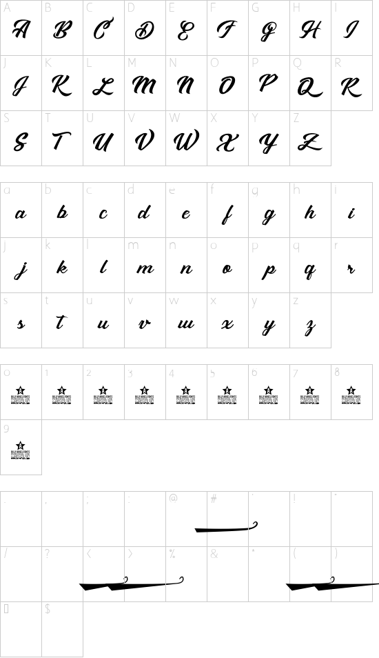 Sebastiana personal use font character map