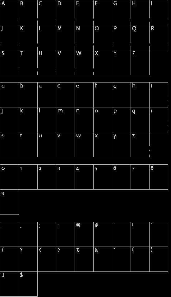 Velvet Heart Swashes font character map