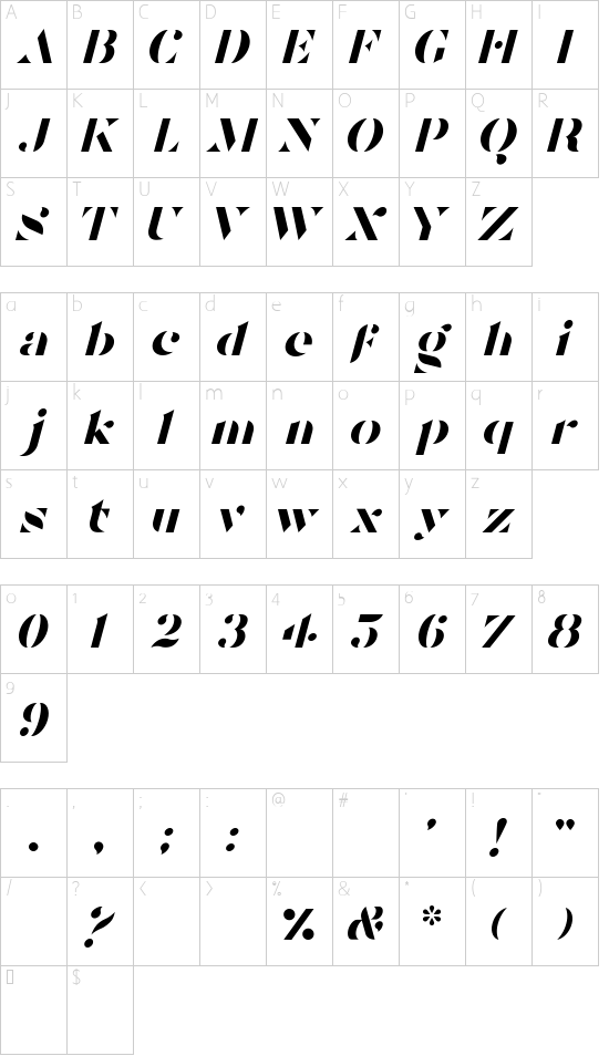 Tostada Italic font character map