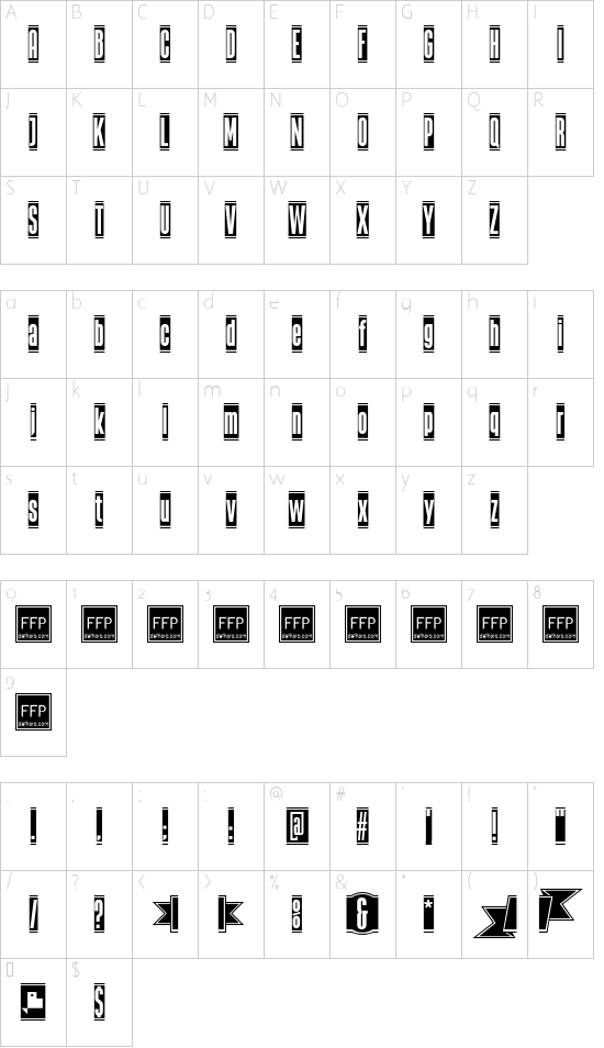 The Black Box font character map