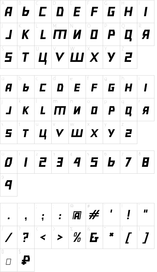 Bolshevik Light Oblique font character map