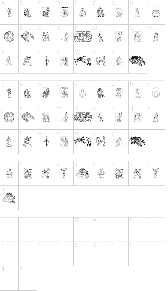 Lucas characters font character map