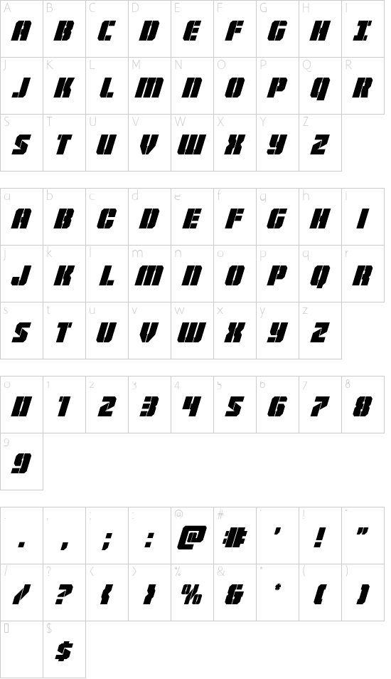 Warp Thruster Condensed Italic font character map