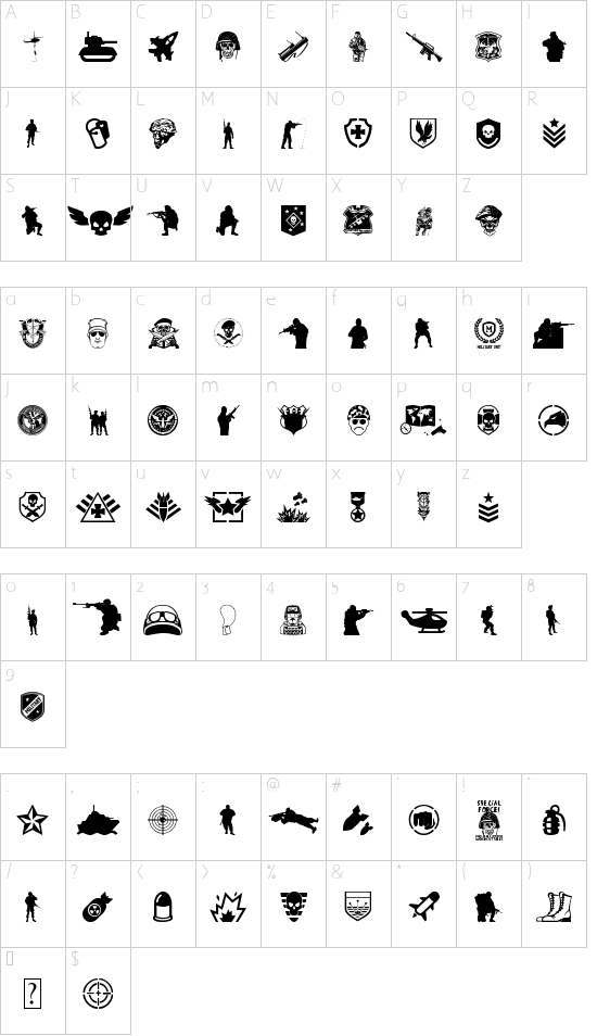 Special Forces font character map