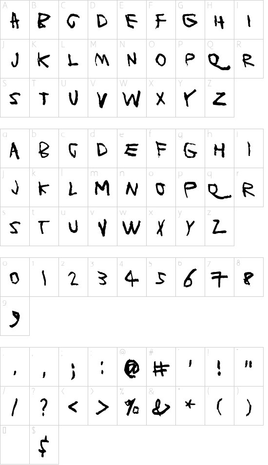 Planet Garbage font character map